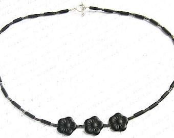 Black Flower Necklace, Czech Pressed Glass Beds, Modern Minimalist Necklace, Matte Black Necklace, Miniature Cube Beads