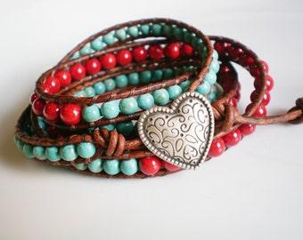 Turquoise Jewelry Wrap Southwestern Jewelry 5 Wrap Bracelet Leather Wrap Bracelet Red & Turquoise Jewelry