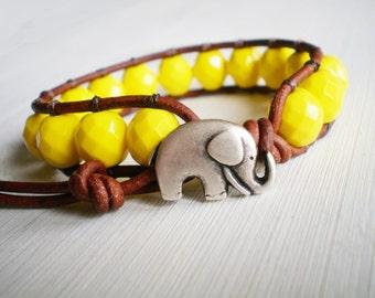 Buttercup Yellow Bracelet Czech Glass Leather Wrap