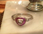 Antique Pink Sapphire  Diamond Heart Ring 14k White Gold
