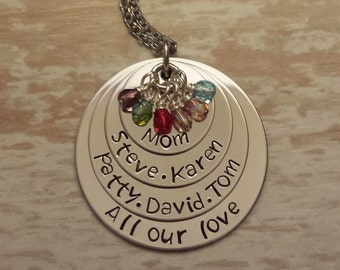 Hand Stamped Personalized Four Layered Stainless Steel Mother's Day Birthstone Necklace / Crystal Stones / Children and Family Names