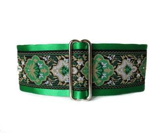 1.5 Inch Martingale Collar, Christmas Martingale Collar, Christmas Dog Collar, Green Dog Collar, Jacquard Dog Collar, Greyhound Collar