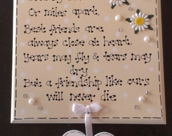 Handmade Wood Personalised Side by Side Best Friends Friendship Poem Gift Plaque