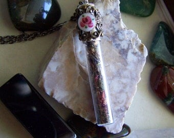 Rose and Lavender Herbal Bullet Jewelry Necklace