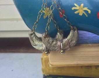 clay EARRINGS, beaded dangle earrings, crescent earrings, tribal earrings,polymer clay earrings, moon earrings, cream  earrings ZASRA