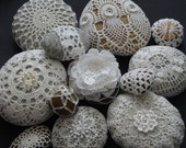 Handmade Crochet stones printing picture,crochet decor,number 2
