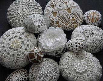 Handmade Crochet stones printing picture,crochet decor,number 2
