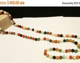 "On Sale Vintage Estate Extra Long Silver Clasp 38"" Hand Knotted Multicolor Jade Bead Necklace"