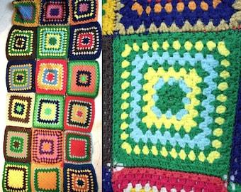 Vintage 1970's Crochet Blanket // 60's 70's Colourful Knit Patchwork Blanket // Rainbow Granny Square Bedspread // Pride
