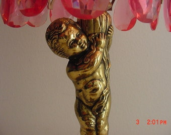 Vintage Shabby Cottage Chic Pink Angel Or Cherub Boudoir Lamp   16 - 385