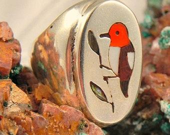 Edaakie Inlaid Red Headed Woodpecker Ring
