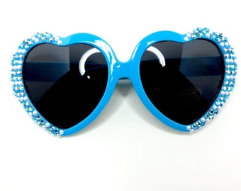 Blue Disney Priness Cinderella Inspired Heart Shaped Sunglasses With Matching Rhinestones and Pearls
