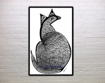 Catbird, Elsie, abstract, folk art, black and white print, wall art, fantasy, cat, bird, dinosaur, fun art, nursery decor, child's room
