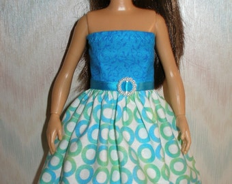 Handmade clothes for doll such as Lammily- blue and green circles dress