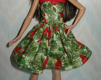 "Handmade 10.5"" teen sister fashion doll clothes - Holiday Red Bird Dress"