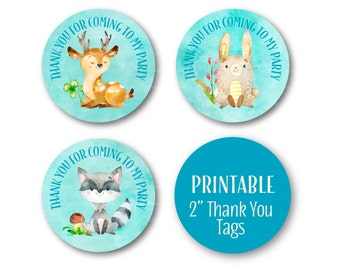 Woodland Thank You Tags, Woodland Baby Animals Party Decor, Birthday Thank you, Thank You Tags, Printable Stickers - 1515blue