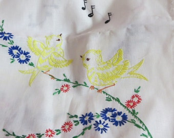 Vintage Runner-Embroidered-Vanity-Dresser Scarf-Shabby Cottage Chic-Yellow Birds-Musical Notes