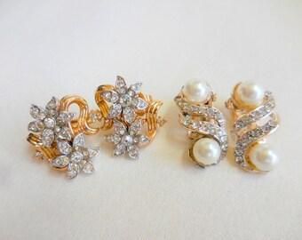 Lot of 2 Vintage Earrings Goldtone with RHINESTONES and Pearls CROWN TRIFARI