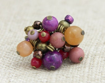 Antique Pink Beaded Cluster Adjustable Ring - Neutral Muted Pink Tan Magenta Purple Bronze Brown Cocktail Boho Ring
