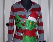 Custom Order, Grinch, Hysterical, Tacky,Ugly , Naughty Christmas Sweater,  Light up, Women's, Men's, Garland,