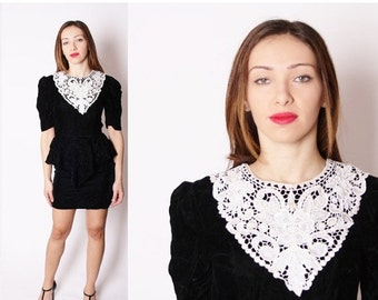 SALE 65% OFF ends 02/16 Vintage Black Velvet Short Grunge Dress with White Lace Bib Collar and Peplum / 1980s Party Dress / Dresses / Dress