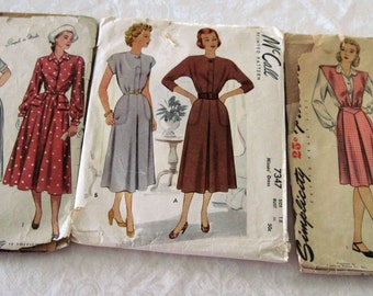 3 Vintage 1940's Simplicity & McCall's Women's Dress Sewing Patterns Sizes 16 and 18