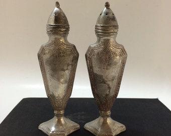 Vintage Art Deco Salt and Pepper, Shield Design