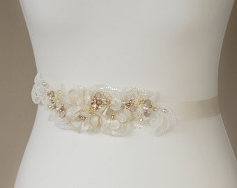 Wedding belt Bridal belt Bridal sash Wedding sash Floral belt Floral sash Flower belts sashes Lace sash Ivory Gold