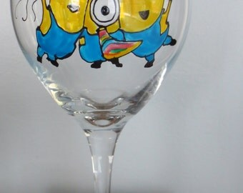 Minions Party! Hand Painted Wine Glass Made to Order