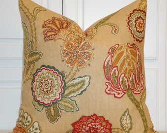 DURALEE - 24 x 24 Euro Sham - Decorative Pillow Cover - Floral - Orange - Red - Green - Camel - Jacobean print - Accent Pillow - Bed Pillow