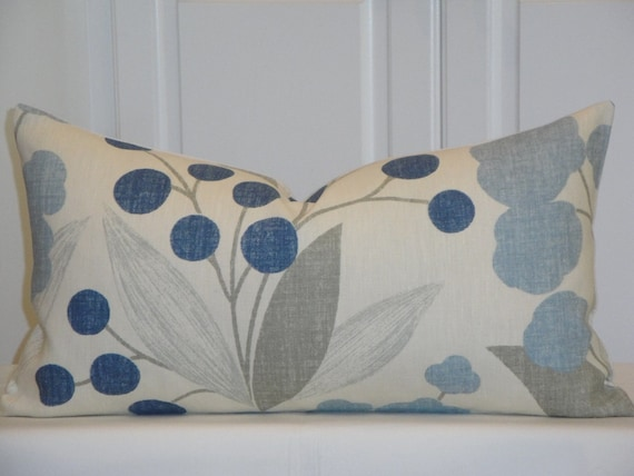 grey light blue floral lumbar accent pillow chair pillow