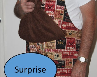 Penis BBQ SIGNS Apron w/ X-Rated Penis Hidden Under Attached Towel