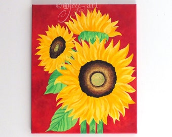 3 Sunflowers on Red, 16x20 bold whimsical art for home or office