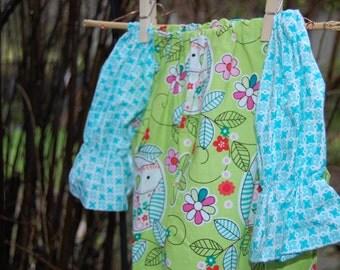 Springtime Owl peasant dress.   Size 2T