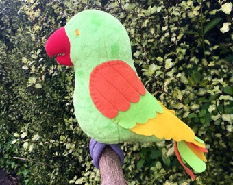 Parrot- stuffed minky plushie- red beak, bright green