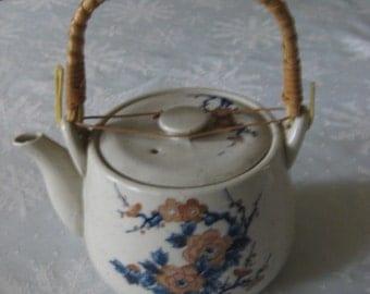 Vintage Asian Style Teapot / Rattan Handle