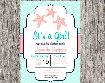 Starfish Baby Shower Invitation, nautical baby shower, girl baby shower DIY, printable