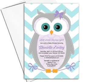 baby girl shower invitation owl | purple and teal baby shower invites | printable or printed | woodland baby shower invitations - WLP00784