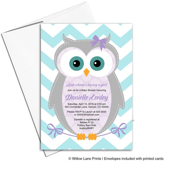 baby girl shower invitation owl purple and teal baby shower invites