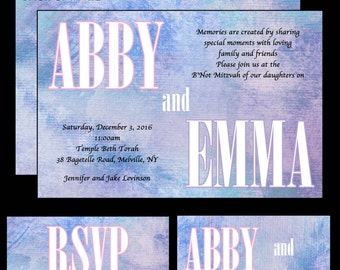 Pink and Blue B'Not Mitzvah Invitations - Water Color B'Nai Mitzvah Invite - RSVP Card - Thank You Notes - Guest and Return Addressing