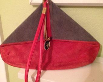 Vintage, suede, triangle handbag. K brand, tres chic
