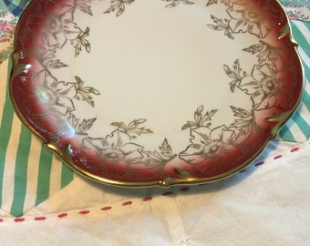 Vintage German Salad Plate Red and Gold Floral Bareuther Bavaria #3982