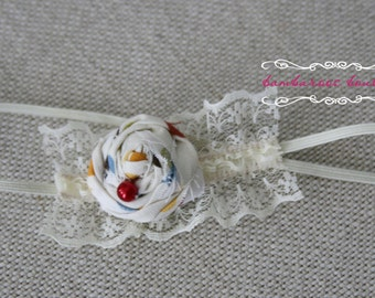 baby headband, Newborn photography props, petite vintage rosette on lace headband, newborn headband, vintage headband, ivory headband