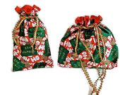 Christmas Fabric Lined Gift Bags with Drawstrings - Bah Humbug - Set of 2 - Recycle, Reuse, Eco-Friendly