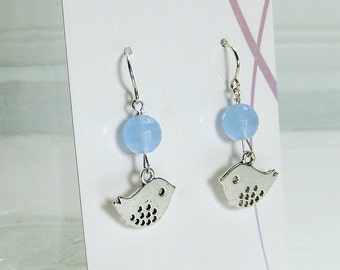 Silver bird earrings, dangle earrings, blue silver earrings, bird jewelry, bird charm earrings, chickadee earrings