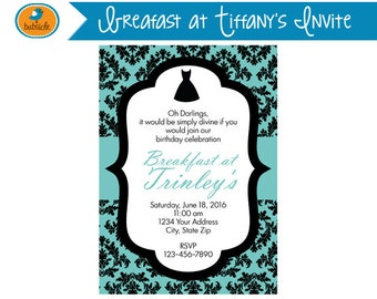Breakfast at Tiffany's Invite, Digital Invitation, Audrey Hepburn, Birthday Party Printable, Digital File, Modern Birthday Theme, Damask