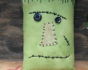 Small Halloween Frankenstein Primitive Pillow