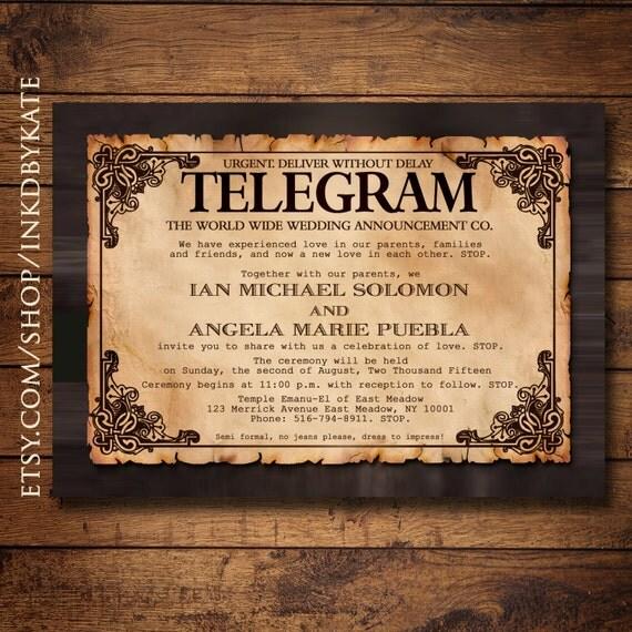 Printable Vintage Telegram Wedding Invitation
