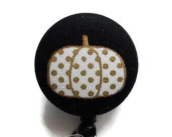 Pumpkin Badge Reel/Retractable Badge Holder/Nurse Badge Holder/ID Badge Holder/Name Badge Reel/Badge Reel/Id Holder/Key Card Holder/Black