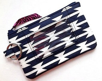 Keychain ID Wallet/Zippered Keychain ID Case/iPhone5 Id Case/Student ID Holder/Id Coin Purse/Badge Holder- Primitive Stripe Navy White